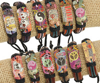Wholesale Bracelet Peace Love - Mixed order 100% genuine leather bracelet love Peace sign Butterfly skull pattern Hemp rope adjustable bracelet 20pcs lot