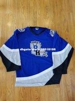 nhl jersey barato al por mayor-Barato personalizado BATON ROUGE KINGFISH ECHL NHL HOCKEY JERSEYS FIGHT STRAP OT SPORTS AZUL cosido jersey de hockey de los hombres