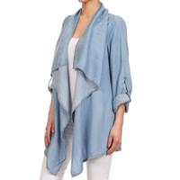 Wholesale Ruffles Women S Cardigan - Western Style Women Denim Coat Outwear Drape Collar Long Sleeve Cardigan Jacket Blue Casual Coats MDF0282