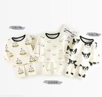 Wholesale Dog Girls Pants - INS Baby kids 2 Piece Set Kids girl long sleeve O-neck cartoon bear dog print T shirt + pant kids clothing sets free ship 3 colors 0-3T