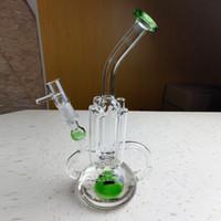 ingrosso tubo ovale-Più recente Vetro Bong Oil Rig Recycler Bubbler Tubi di acqua Griglia in linea Perc Oval Base Beaker Bong 9,5