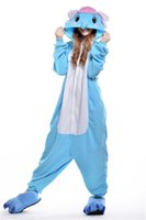 Wholesale Elephant Adult Pajamas - Blue Elephant Stitch New Cosplay Pajamas Unisex Romper Pajamas Adult Cosplay Costumes Sleepwear Adult Onesies Womens Footed Pajamas P025