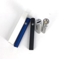 batterie vaporisateur bleue achat en gros de-Chaud 380mah MAX préchauffage rechargeable épais pile à huile réglable tension stylo vaporisateur avec bouton o stylo argent bleu noir