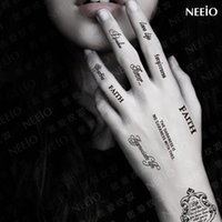 Wholesale Tattoo Neeio - Wholesale-T094 Neeio Tattoo Stickers Small Letters Hand Waterproof Temporary Tattoos Environmental Protection Material 2PCS Per Lot