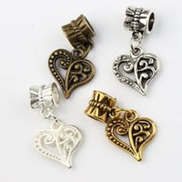 Wholesale Big Hole Gold Beads - Open Flower Heart Big Hole Beads 100pcs lot Antique Silver Bronze Gold Fit European Charm Bracelets Jewelry DIY B919 13.3x25.1mm