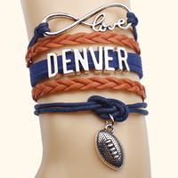 Wholesale Wholesale Leather Cord Colors - Retro LOVE bow romantic DENVER letter hand-woven leather cord multi-strand bracelets hit color bracelet 7 styles 7 COLORS