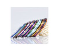 sipariş ipliği toptan satış-20 Mix Renk Rulo Şerit Bant Metalik İplik Hattı Nail Art Dekorasyon Sticker 20 adet / grup + 5 adet Hediye Toplam 25 adet / grup order $ 18no track