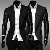 xxl leder ärmel jacke großhandel-Hohe Qualität 2015 Neue Mode Herren Strickjacke Jacke Stehkragen PU Lederhülse Slim Fit Blazer Mantel Lässig Größe L-XXL FG1511