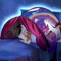 Wholesale Outdoor Pop - New Popular Dream Tents Dinosaur Island Magical Unicorn Fantasy Kids Pop Up Bed Tent Foldable Outdoor Indoor Bed