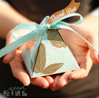 Wholesale Happiness Wedding Favor Boxes - Exquisite Triangle-shaped Happiness Candies Box With Beautiful Silk Ribbon Favor Boxes European Style Four Colors