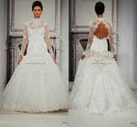 Wholesale Wedding Dresses Pnina Sleeves - 2016 Vintage Pnina Tornai Lace Long Sleeves Ball Gowns Wedding Dresses Mermaid Wedding Dress Sheer Bridal Gowns High Neck Plus Size Backless