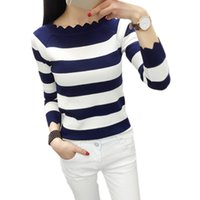 Großhandel-Frauen Casual Herbst Striped Crochet Pullover Mode Strickpullover Pullover Top Rebecas Mujer Frauen Winterkleidung