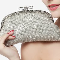 Wholesale Elegant Evening Handbag Rhinestone - Elegant Jewelry Evening Handbag Crystal Wedding Bridal Clutch Bags Bling Full Rhinestone Sparkling Banquet Party Shoulder Bag