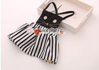freie mädchen kurze röcke großhandel-scherzt gestreiftes Kleidfrühlingsfallschwarzweißstreifen-Kurzschlusskleid lolita Katzenkleid-Hosenträgerrockbaby-Mädchen Belegkleid freies Verschiffen