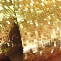 papier peint d'or de luxe achat en gros de-Mini mosaïque de luxe papier peint paillettes fond mur feuille d'or brillant papier peint argent plafond papier peint revêtement mural