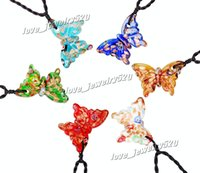 "Wholesale Glitter Cord - Colorful Butterfly Gold Dust foil glitter lampwork venetian Murano Glass Pendant Necklace 6pcs Set with 19.7"" Black Cord"