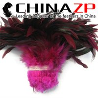 Wholesale Colorful Rooster - Leading Supplier CHINAZP Crafts Factory 800 pieces per lot Colorful Dyed Pink Half Bronze Strung Rooster Chicken Feathers