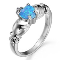 10pcs Unique Christmas Gift Fire Heart Azul Fire Opal Cubic Zirconia Crystal Gemstone Rússia 925 Sterling Silver Black Gold Wedding Rings