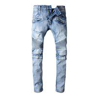 Wholesale Paris Stripe - New Arrival Famous Brand Paris Pierre Clothes Fashion Mens Biker Jeans Scratched Men Casual Cotton Pants Blue For Men Ripped Jeans