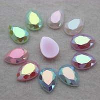 Wholesale Acrylic Flower Beads 14mm - 300PCS 10*14MM AB Color Jelly Drop Acrylic rhinestone flatback Beads decorate DIY ZZ1