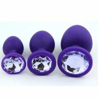 Wholesale Purple Anal Jewelry - Silicone Anal Plug with Jewelry Base Violet Purple Fetish Sex Toy Small Medium Large Size BDSM Gear Butt Plug Anus Intruder B0101033