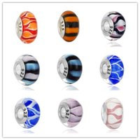 Wholesale Lampwork Beads 925 - 2016 Flowers and Gifts 925 silver beads fit European style Pandora DIY Series 9 models mix MD01