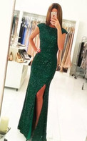 Wholesale emerald green sheath dress - Elegant Emerald Green Sequins Prom Dresses 2017 Sheath Long Evening Gowns Cap Sleeves Split Party Dresses Floor Length Vestido De Festa