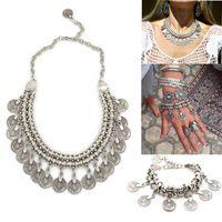 Wholesale Bib Bracelets - Bohemian Gypsy Love Affair Necklace Bracelet Set Antalya Silver Coin Choker Bib Statement Fringe Turkish Boho India Festival
