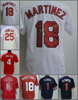 Wholesale Musial Jersey - St. Louis #1 Ozzie Smith 4 Yadier Molina 6 Stan Musial 18 Carlos Martinez 25 Dexter Fowler Red White Blue Flexbase Jerseys