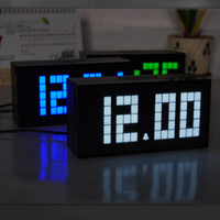 Wholesale Multi Function Lcd Alarm - Square LED Light Table Clocks With LCD Screen Display Digital Alarm Clock Multi Function Plastic Timepiece Popular 95ch B R