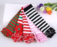Wholesale Striped Baby Leggings - Baby solid color striped polka dot ruffle leg warmers kids girl birthday gifts leggings child Socks 9colors keep leg arm warm