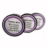ezici için en iyi atomlaştırıcılar toptan satış-En iyi Clapton Tel Direnç Tel 15 Ayaklar 22 + 32 24 + 32 26 + 32 Ölçer Isıtma Teller DIY Rebuildable RDA RBA E Çiğ Atomizer