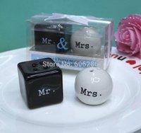 "Wholesale Cheap Salt Pepper - SG 240pcs(120sets) Lot Cheap Wedding Giveaway Gift items ""Mr. & Mrs."" mr mrs Ceramic Salt and Pepper Shakers Party Favor"