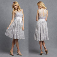 Discount jewel neckline homecoming dress - 2016 Donna Morgan New Sheer Jewel Neckline Homecoming Dresses Lace Appliqued Short Cocktail Dresses Elegant Wedding Party Dresses BA0123
