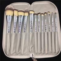 Wholesale shiny tools resale online - Professional Set Makeup Brushes Shiny Gold Silver Cosmetic Brushes with Bag Professional Make Up Brush Tools Kit