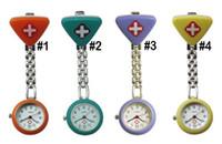 Wholesale animal stationary - fashion Clip Nurse Doctor Triangle Pendant Pocket Quartz Red Cross Brooch Nurses Watch Fob Hanging Medical