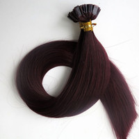 Wholesale Tip Human Hair Extension Red - 100Strands=1Set 100g Pre bonded Flat Tip Hair Extensions 18 20 22 24inch #99J Red Wine Brazilian Indian Keratin Human Hair