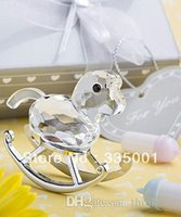 Wholesale Rocking Horse Baby Shower Favors - Factory directly sales 6pcs LOT Crystal Rocking Horse Baby Shower Favors 052828