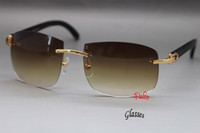 Wholesale frame 62 resale online - HOT Rimless Black Buffalo Sunglasses Larger Sun Glasses Frame Size mm