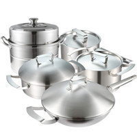 Cheap Wholesale-Free Shipping Top Quality Cooking Tools Ollas Cocina 11pcs Of Stainless Steel Cookware Set Steamer+Milk Pot+Flying Pan+Casserole