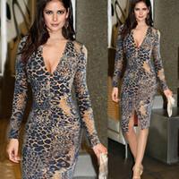 vestido de impressão integral leopardo venda por atacado-Inverno primavera outono mulheres dress com decote em v leopard print bainha fenda manga cheia na altura do joelho vestidos sexy noite festa do vintage dress vestidos