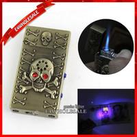 """Wholesale Skull Butane Lighters - """"Butane Gas Lighter Ping"""" Skull Voice Jet Flame Cigarette Cigar Lighter With White + Purple LED Light"""