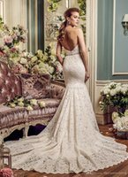 Wholesale Semi Mermaid Wedding Dresses - full lace elegant romantic mermaid wedding dresses mikaella 2017 bridal strapless semi sweetheart neckline open v back chapel train
