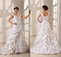 Wholesale Gardening Goods - Good Quality 2016 Designer Wedding Dresses Ruched V-Neck Floral Beads Sash Pick Up Taffeta Wedding Gowns 100% Real Image Bridal Gowns GD-054
