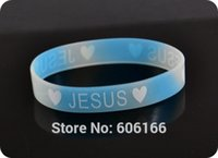 силиконовый светлый темный браслет оптовых-Wholesale-50x Heart JESUS glow in dark silicone Bracelet wristband Fashion Catholic Christian Religious Jewelry