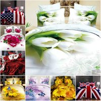 Wholesale Tulip Queen Bedding - Wholesale-Elegant White Tulip 3D Bedding Sets Queen 4pcs Rose Sunflower Comforter Duvet Cover bedclothes bed sheet pillowcases set Cotton