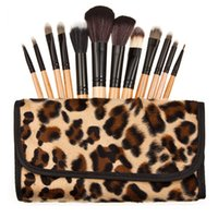 Wholesale New Products Grains - 2015 new hot best 12 leopard grain cosmetic brush cosmetic products makeup brush Leopard Grain Bag free shipping