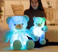 oyuncak ayı s toptan satış-50 cm Yaratıcı Işık Up LED Teddy Bear Doldurulmuş Hayvanlar Peluş Oyuncak Renkli Parlayan Çocuklar için Teddy Bear Noel Hediyesi