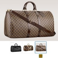 Wholesale Men Leather Duffle - 2018 NEW fashion men women travel bag duffle bag, brand designer luggage handbags large capacity sport bag 62CM L8888V