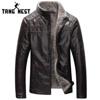 Wholesale winter jackets fur inside - Wholesale- TANGNEST Winter Warm 2017 New Design Fashion Fur Inside PU Leather Jacket Thick 4 Colors Men's Leather Jacket MWP359